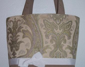 Green Paisley Handbag with Ribbon, Purse with Bowhead