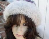Vintage Hat Knit Faux Fur Hat Ski Knit Hat Faux Fur Trim Warm Hat Winter Hat Vegan Fur Hat