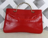 Red Hot Vintage Handbag Clutch with Chain Strap