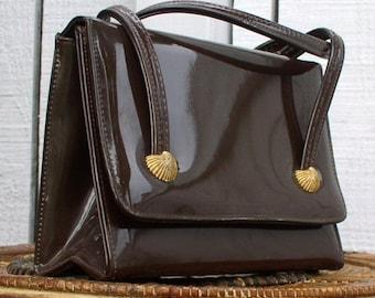 Patent Leather Handbag Vintage Handbag Glossy Cocoa Brown 1970's Purse Shell Motif Flap Purse Small