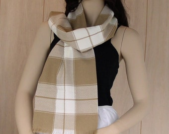 Warm Vintage Scarf Camel Brown and White Plaid