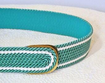 """Belt Vintage Belt Guto West Germany Cord Rope Cinch Belt Minty Green 31"""" Waist Belt"""