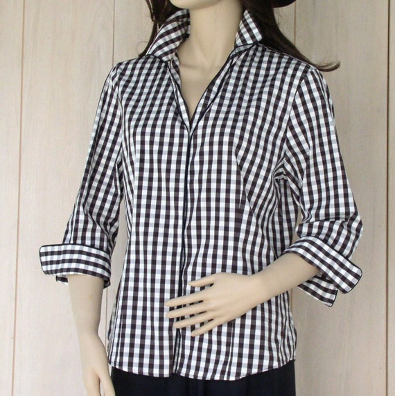 Womens Black And White Checked Blouse 43