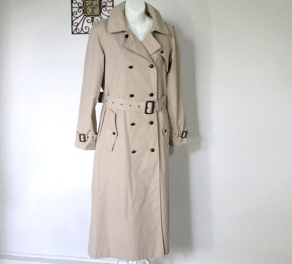 Khaki Trench Raincoat Saxton Hall Tailored Sz 8