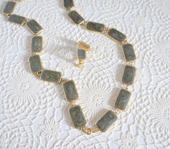 Vintage Jewelry / Goldette /  Necklace and Earring / Set / Brown / Grey