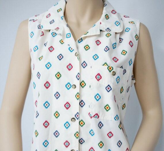 Southwest Blouse Short Sleeved Summer Wear Ladies Size Medium