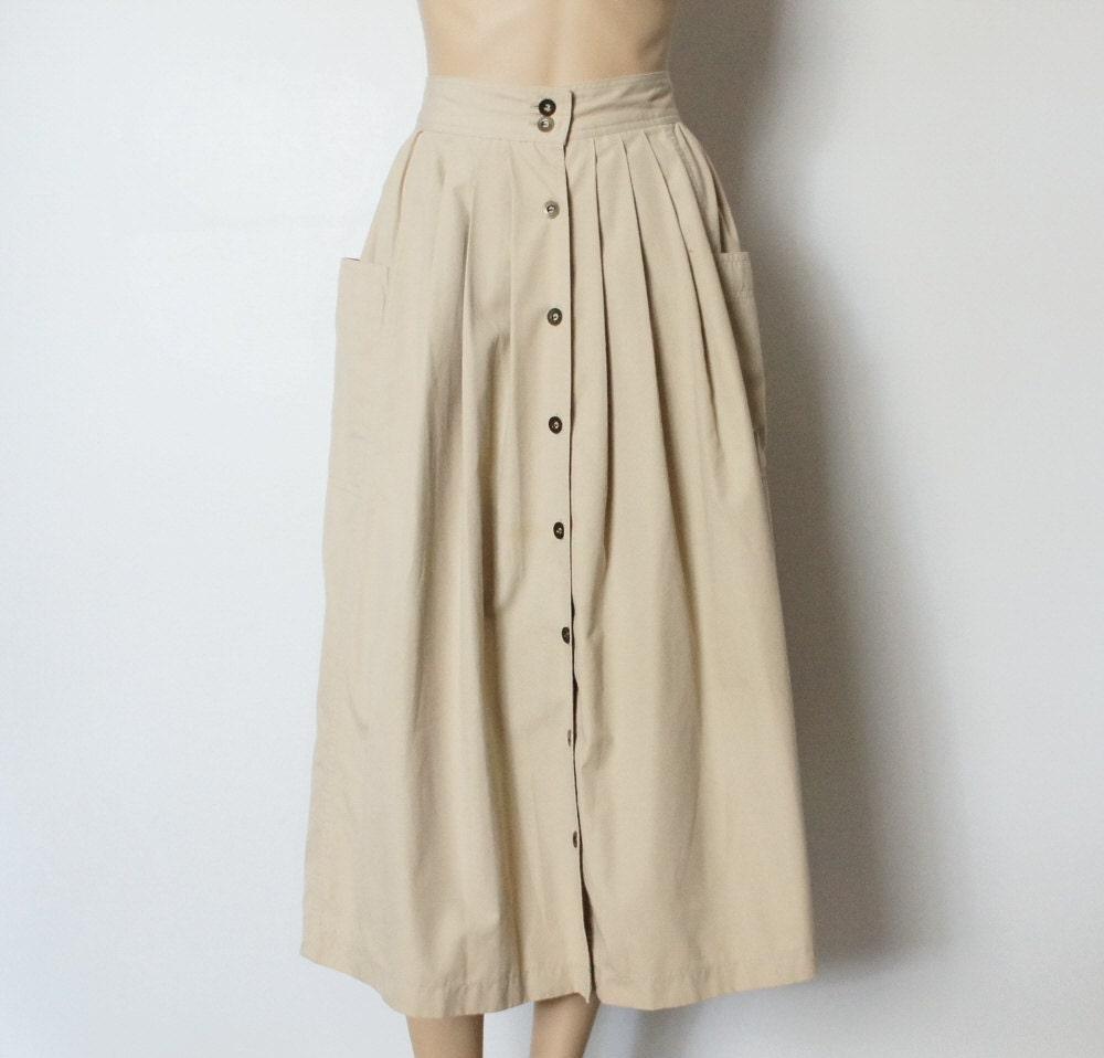 vintage womens skirt khaki high waisted skirt