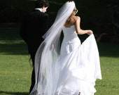 Two tier cathedral length long abusymother wedding veil white, diamond or ivory
