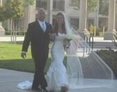 Single layer cathedral  wedding veil white, diamond or ivory