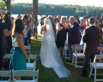 "Single layer 108"" cathedral elegant wedding veil white, ivory or diamond READY TO SHIP"