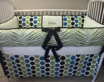 Zebra Modern Polka  Dot Boys Green Black Custom Baby Bumper Pad Crib Set DEPOSIT Down Payment Only