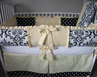 Yellow and  BLACK Damask Baby bedding  girl  Bumper Pad Crib Set