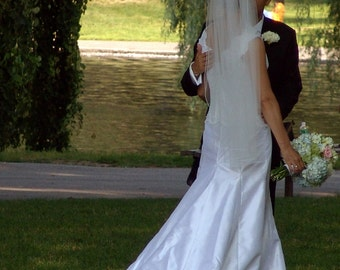 Fingertip Length Wedding Veil abusymother single layer white, ivory finished edge