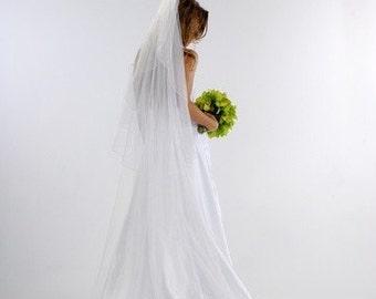 Cascading CHapel wedding veil 90 two tier