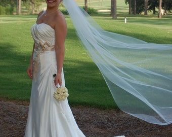 Bride veil  Single layer 108 Cathedral style wedding  white, ivory or diamond