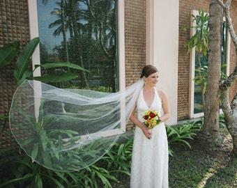 floor Single layer Long Length Wedding Bride Veil 72 inches white, ivory or diamond