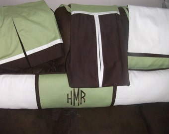 Bumper Pad Baby Bedding Crib Set your Color choice neutral green brown white