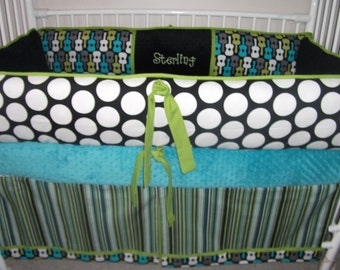 Baby Bedding Guitar  Blue Black Green  Crib set DEPOSIT Down payment