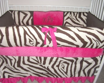 Brown ZEBRA girl HOT PINK Bumper Pad Baby bedding Crib Set