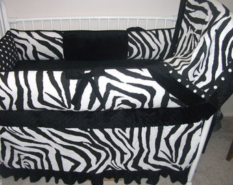 Baby bedding Crib Set BLACK ZEBRA Bumper Pad