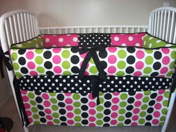 Baby Bedding Crib Set Girl Girls Hot Pink Lime Black Bumper
