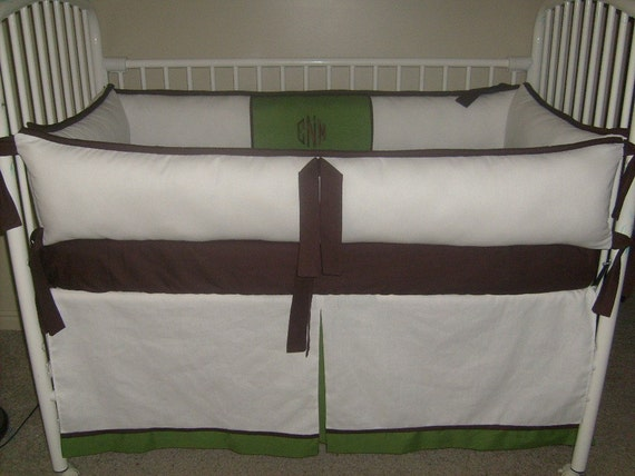 NUETRAL BOY GIRL Green Brown White Crib Set