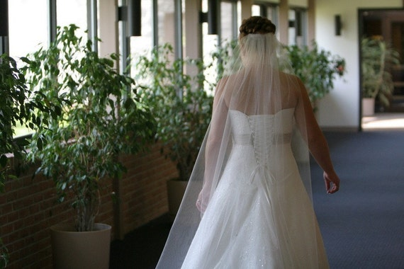Single Layer Cathedral Wedding Bridal Veil 108 inches Long white, ivory or diamond