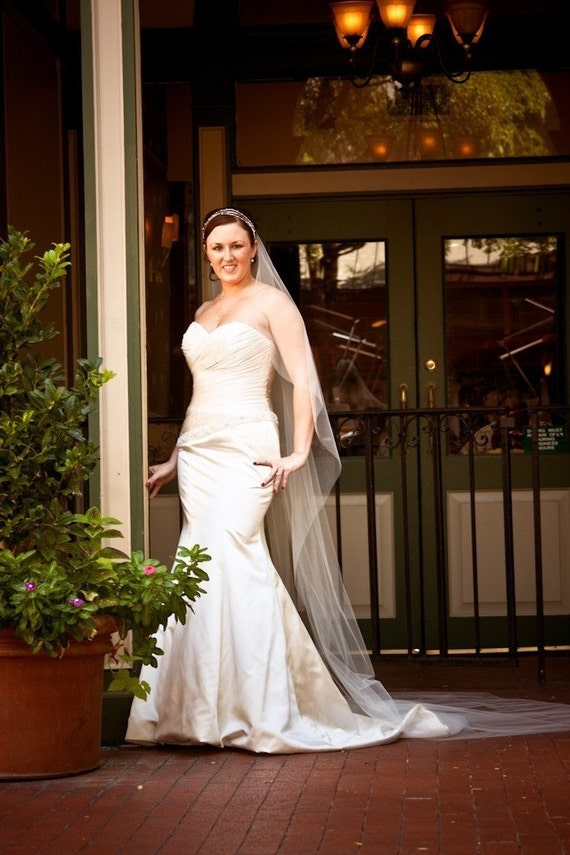 """Cascading 120"""" Cathedral Sheer single layer  custom veil white, ivory or diamond"""