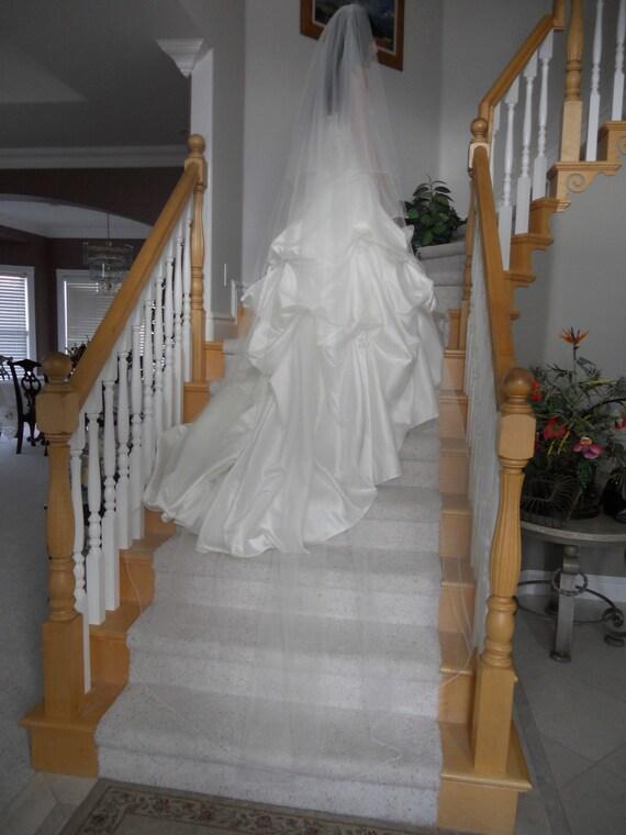 "Two tier  circular 90"" Chapel Wedding Veil white, ivory or diamond"