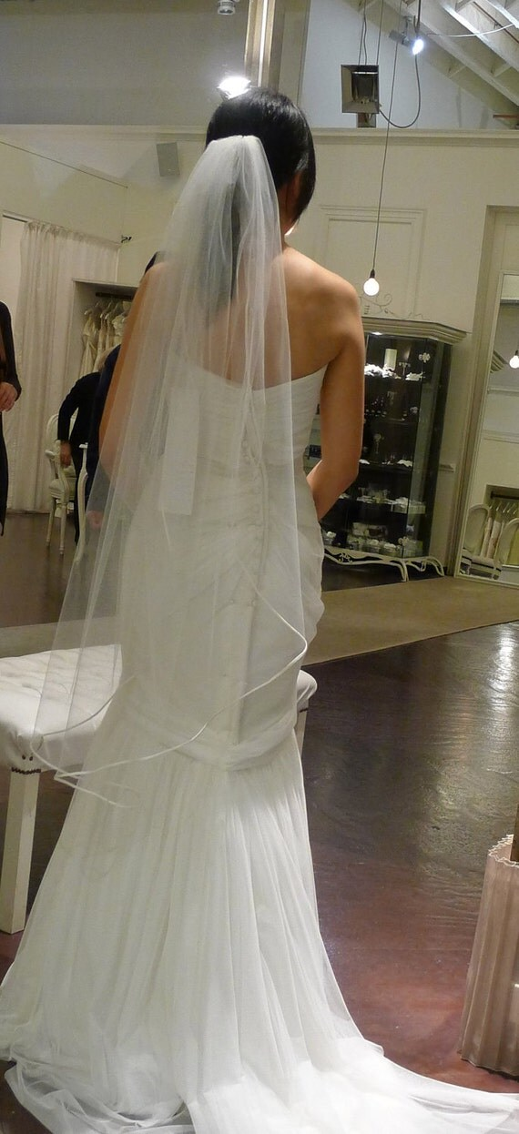 Single Layer Waltz Wedding Bridal Veil 49 inches white, ivory or diamond