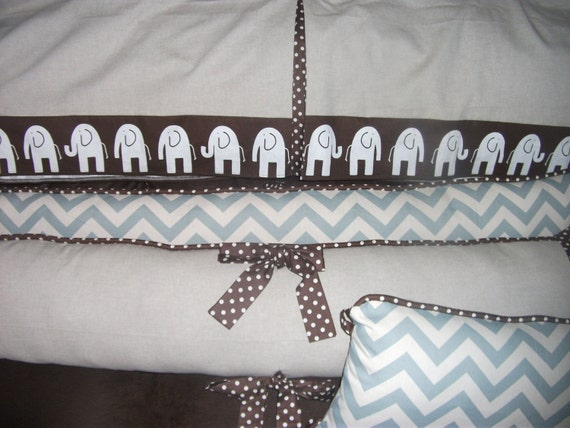 Crib set Elephant Zig Zag Blue Brown Boy Bumper Pad DEPOSIT
