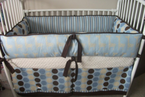 Mod Dot Giraffe Blue Brown Baby Bedding Crib Set