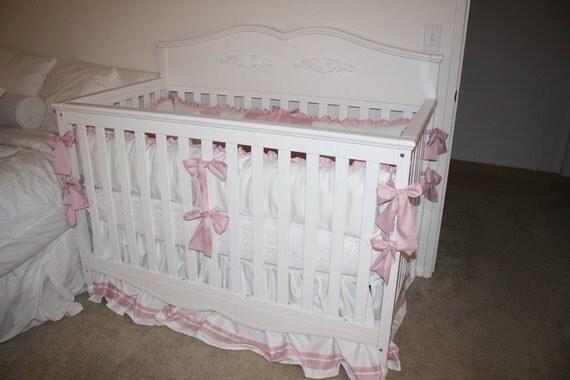 Girls pink and  white Sateen  Baby Bedding Bumper Pad Crib Set DEPOSIT