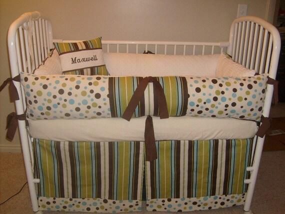 Custom Polka Dot Stripe Boy Bumper Pad Crib Set By Abusymother