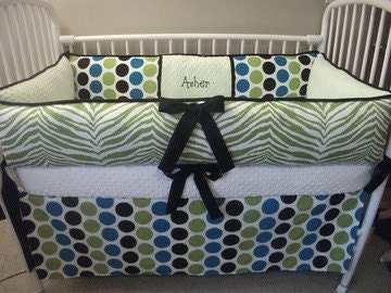 Zebra Modern Polka Dot Boys Green Black Custom Baby Bumper