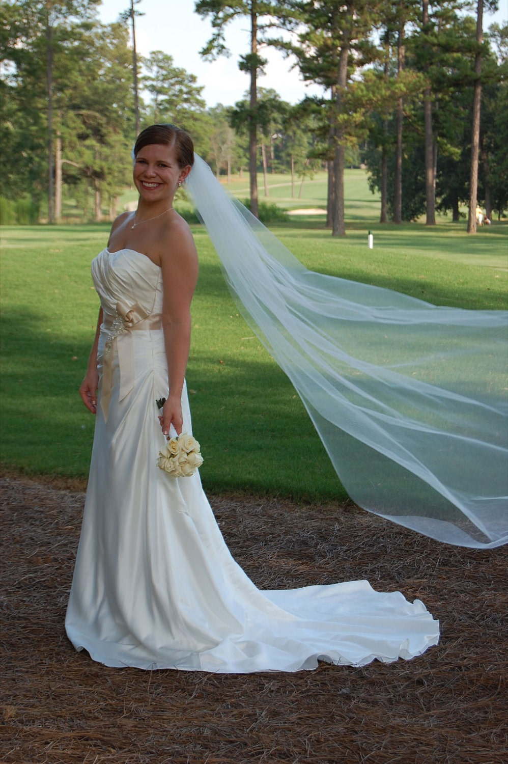Wedding Veil Chapel Simple Abusymother Single Layer White