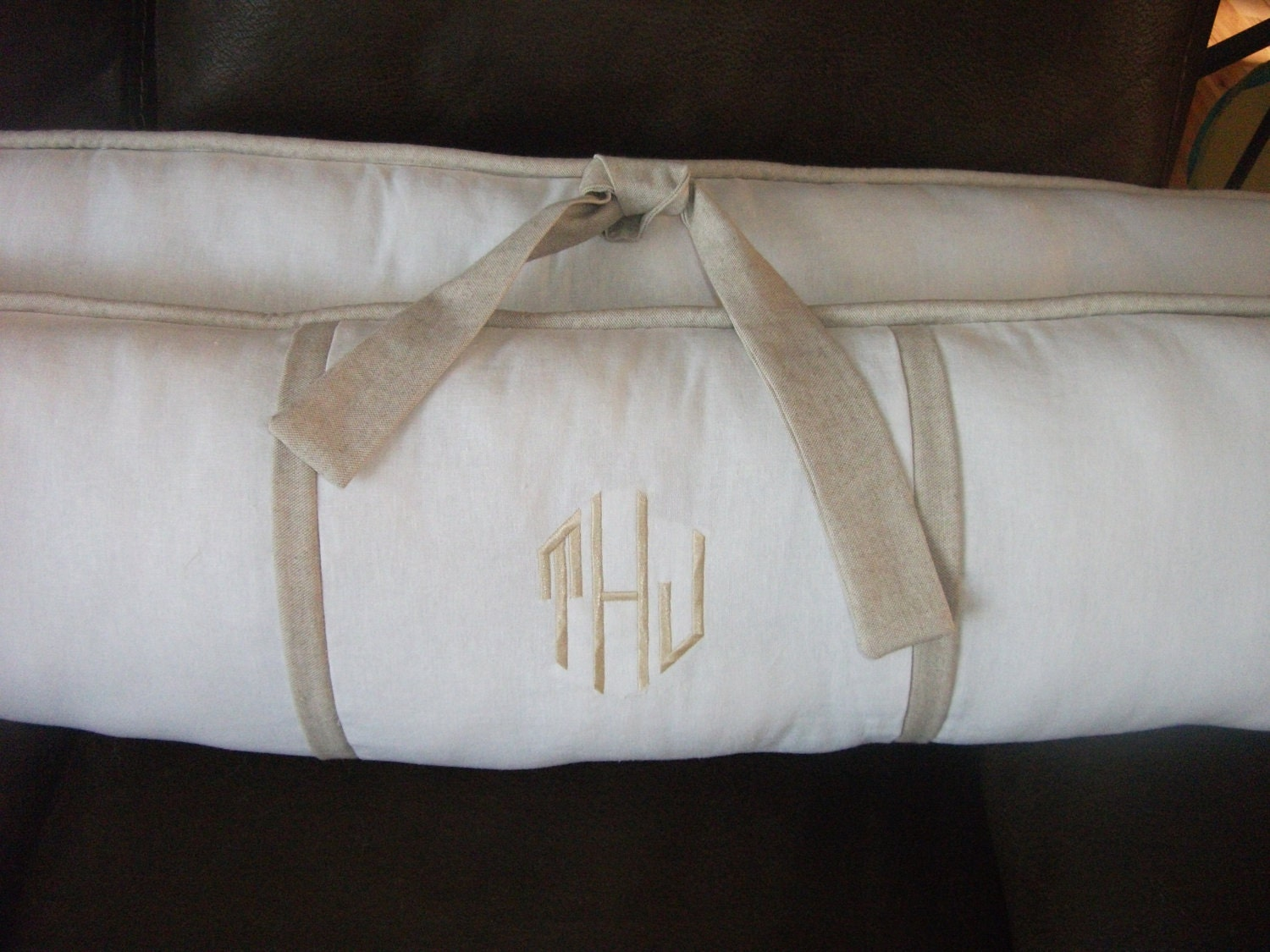 Bedding Bumper Pad Crib Sets White And Natural Linen Baby