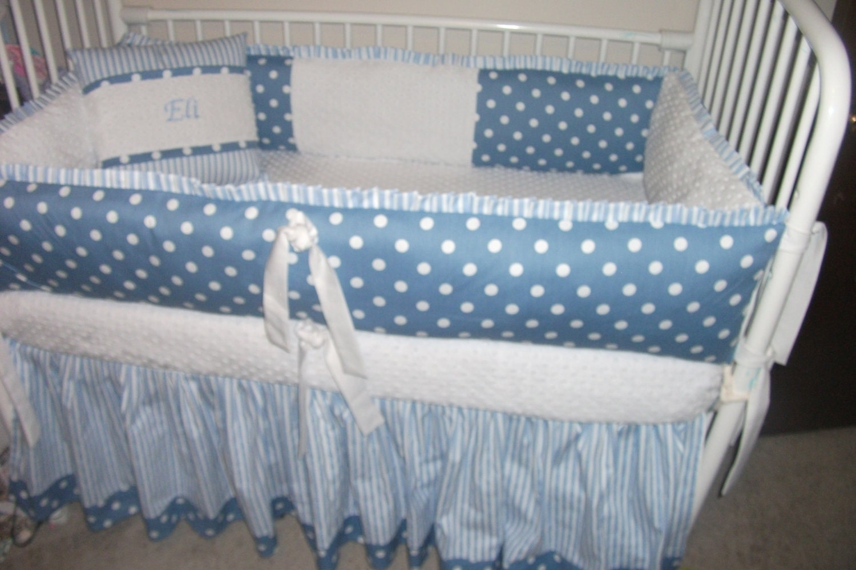 Items Similar To Boys Blue White Baby Bedding Bumper Pad Crib Set DEPOSIT On Etsy