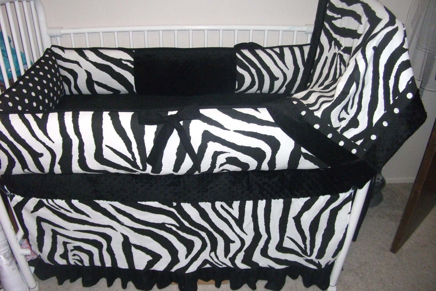 BLACK ZEBRA Bumper Pad And Skirt Baby Crib Set