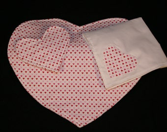 Placemat Set, cloth, Napkins, Coasters, Hearts, Applique