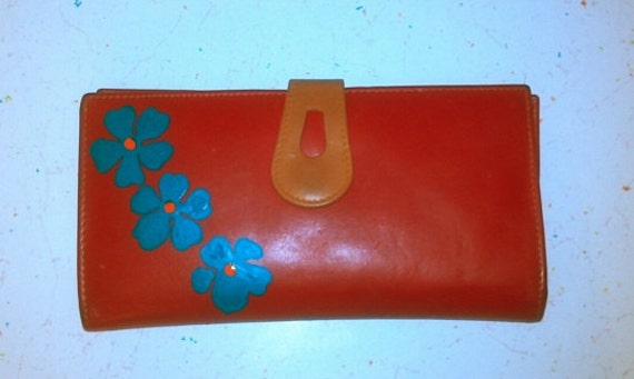 Red Wallet with Turquoise and Orange tropical flowers