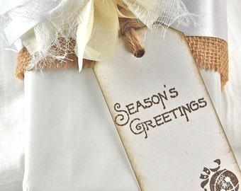 Christmas Cards, Christmas Gift Tags, Rustic Christmas set of 6 Season's Greetings Tags