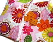 Reusable Sandwich and Snack Bag Set-Whimsy Pink and Orange Floral