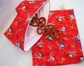 Reusable Sandwich and Snack Bag Set-Red Pirates Skull and Cross Swords
