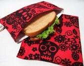Reusable Sandwich and Snack Bag Set-Red Skulls