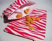 Hot Pink Zebra Sandwich and Snack Bag Set, Reusable