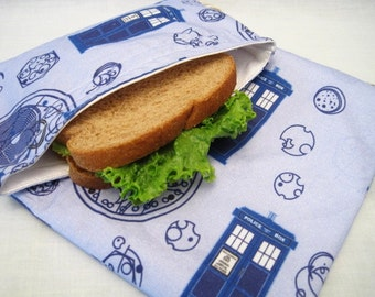 TARDIS Reusable Sandwich and Snack Bag Set