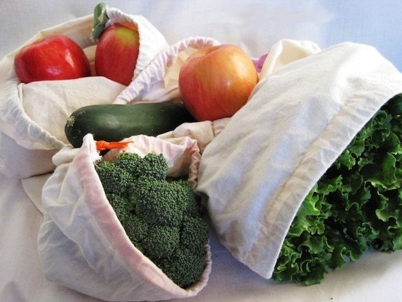 Produce Bags, Set of 6 Eco-Friendly and Earth Savvy, Embroidered Trimmed Top