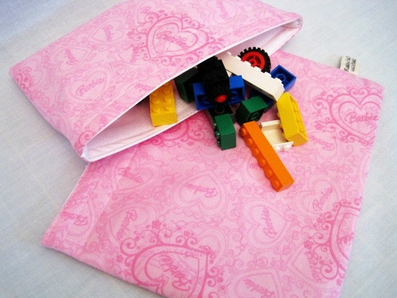Reusable Sandwich and Snack Bag Set-Barbie Pink Hearts