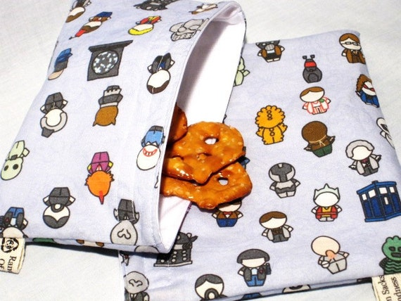 Dr Who Reusable Sandwich and Snack Bag Set